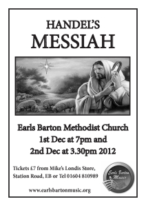 Handel's Messiah, Earls Barton Methodist Church, 1st Dec at 7pm and 2nd Dec at 3.30pm